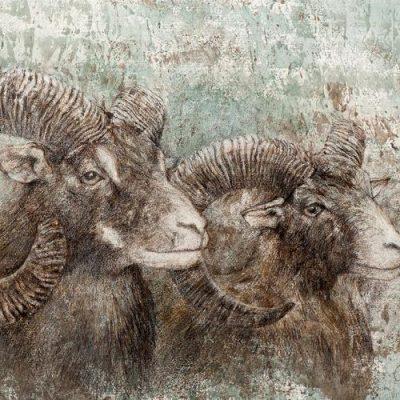 MUFFLONS, Acryl, Kreidegrund, Leinöl, Frottage, Farbstifte, Ölstifte, Graphit auf Fabriano Cotton, 70 x 50 cm, © Sascha & Ingo Maas